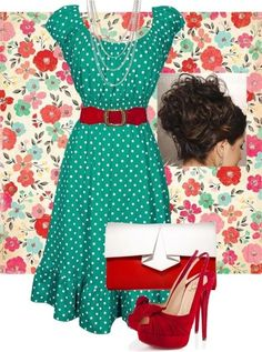 Green polka dot and red pin up style outfit. Summer! by polly