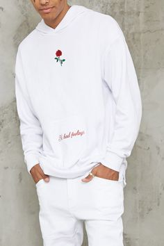 """A French terry knit hoodie featuring a single rose embroidered on the chest, """"No Hard Feelings"""" embroidered in cursive on the kangaroo pocket, long sleeves, and ribbed trim. Imperial Clothing, Trendy Hoodies, Rose T Shirt, Men Closet, Short Sleeve Hoodie, Mens Sweatshirts, Men's Hoodies, Men's Wardrobe, Men Looks"""