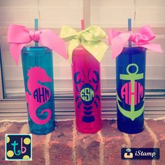 Adorable Monogram Personalized Skinny Double Wall 16 oz Acrylic Tumblers by Tootlebugs on Etsy