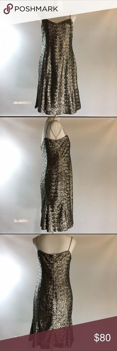 Banana Republic L'Wren Scott 12p silver dress Brand-new with tags banana republic size 12 P petite. Silver sequin wiggle dress. Limited edition from the L'wren Scott collection. This is brand-new with tags attached but has been hanging in my closet for a while. Retailed for $165. Measures 38 inches from top of shoulder strap to bottom which should hit just above the knee. 18 inches across chest. Banana Republic Dresses Prom