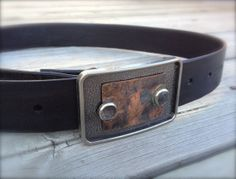 Copper and Silver Buckle with Black Leather Belt