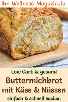 Low Carb Buttermilchbrot mit Käse und Nüssen - gesundes Rezept zum Brot backen - Düşük karbonhidrat yemekleri - Las recetas más prácticas y fáciles Nut Recipes, Pumpkin Recipes, Slow Cooker Recipes, Low Carb Recipes, Bread Recipes, Baking Recipes, Cake Recipes, Law Carb, Buttermilk Bread
