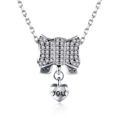 Red Nymph Fashion 925 Sterling Silver Longer Necklace with Zircon, Bowknot shape Pendant