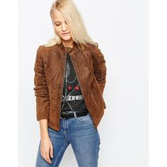 Barney's Originals Suede Biker Jacket (€94) ❤ liked on Polyvore featuring outerwear, jackets, tan, moto jacket, quilted jacket, tan moto jacket, lightweight jackets and brown moto jacket