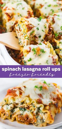 Spinach Lasagna Roll Ups Recipe - an easy vegetarian recipe that's an easy freezer friendly meal! Spinach Lasagna Roll Ups Recipe - an easy vegetarian recipe that's an easy freezer friendly meal! Low Carb Dinner Recipes, Vegetarian Recipes Easy, Cooking Recipes, Healthy Recipes, Lunch Recipes, Pasta Recipes, Vegetarian Lunch, Veggie Recipes, Breakfast Recipes