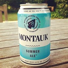 The new Summer Ale can from Montauk Brewery. | Designer: Unknown | Via @mrporterlive on instagram #packaging #beercan #montauk #mrporter
