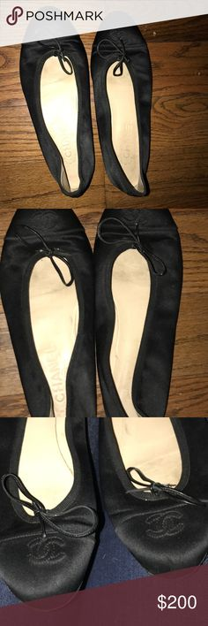 Chanel Ballet Flats Worn, but still in good condition. These are absolutely gorgeous! (See pics) I always photograph/record all of my items, to ensure safety of the buyer, as well as the seller. ☺️ CHANEL Shoes Flats & Loafers
