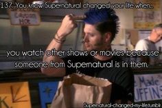 Supernatural is my religion and I am not ashamed to admit it. I love Supernatural so much that I often find myself doing odd little things that I probably wouldn't do if I didn't watch the show. Destiel, Jensen Ackles, Zeppelin, 10 Inch Hero, Supernatural Memes, Supernatural Playlist, Sam Dean, Geek Out, Superwholock
