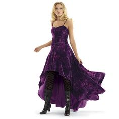 Purple Velvet Bustle Dress - New Age, Spiritual Gifts, Yoga, Wicca, Gothic, Reiki, Celtic, Crystal, Tarot at Pyramid Collection