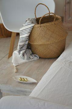 Natural seagrass basket - find similar at Decorator's Notebook www.decoratorsnotebook.co.uk