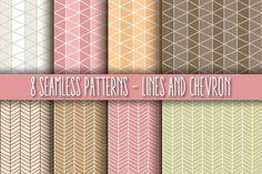 8 Seamless Patterns, Lines & Chevron by Blue Lela Illustrations on Creative Market