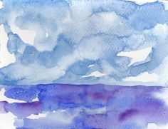 Acquerello dipinto a mano su carta arte e arredamento mare e nuvole