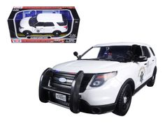 2015 Ford Interceptor Police Utility California Highway Patrol (CHP ) White 1/24 Diecast Model Car by Motormax - Brand new 1:24 scale diecast model car of 2015 Ford Interceptor Police Utility California Highway Patrol (CHP ) White die cast car model by Motormax. Brand new box. Rubber tires. Has opening doors. Made of diecast with some plastic parts. Detailed interior, exterior, engine compartment. Dimensions approximately L8, W-3, H-3 inches. Please note that manufacturer may change packing…