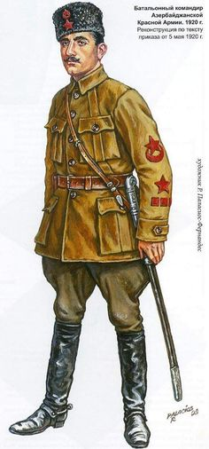 Azerbaijani Armies in the Civil War Battalion commander of the Azerbaijan Red Army. 1920