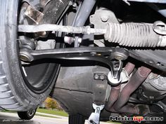 E36 M3 front control arm installed with Rogue Engineering FCAB, Hotchkis front sway bar, HVT 6100 strut