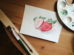watercolor strawberry by katyamiyake
