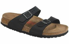 Birkenstock Sydney  Black w/High Arch Oiled Leather  $125     Two thinner, contoured straps differentiate this from other Classics, making it comfortable for those with prominent foot bones. Of course, many people wear it just for its simple, casual elegance. Cork footbed conforms to match the shape of your foot and provides great support and comfort. Lightweight EVA soles provide flexibility and cushion and can be replaced when worn.