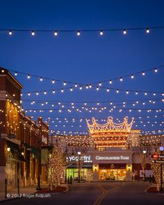 Zona Rosa (Kansas City) shopping area, very neat! Huge crowns hang at intersections during Xmas time.