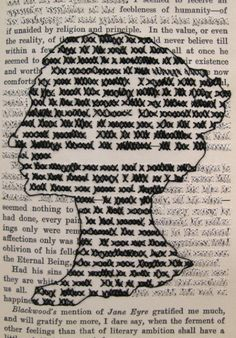 http://www.laurendicioccio.com/objects/cross-stitched-books Let's cross out all the words with kisses