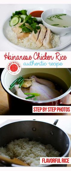 """Hainanese Chicken Rice (serve your chicken whole & cut at table for Chinese New Year. Cooking a whole chicken or duck represents health — carving it before serving would meant to """"cut"""" your health)"""