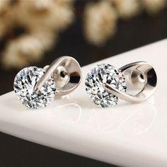 Wedding-Silver-Color-Zircon-Crystal-Stud-Earrings-in-Silver-Color-US-Seller