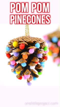 These pom poms and pine cones Christmas ornaments are so easy! They're a great craft for both kids and adults and they end looking surprisingly beautiful! You can make them multi-coloured like ours, o Christmas Crafts For Toddlers, Christmas Activities, Christmas Crafts For Kids, Diy Christmas Ornaments, Toddler Crafts, Handmade Christmas, Christmas Fun, Holiday Crafts, Christmas Pom Pom