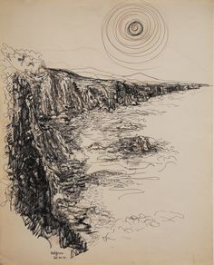 Lawrence Halprin, Sea Ranch Ink on paper Landscape Sketch, Landscape Art, Contemporary Landscape, Contemporary Artists, Lawrence Halprin, Sea Ranch, Anatomy Sketches, Ink Pen Drawings, Art And Architecture