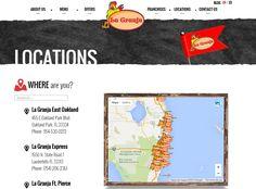 Sección de ubicaciones del Restaurant La Granja