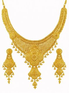 Gold Bridal Necklace Set - - Gold Bridal Necklace and Earrings Set, exclusively hand crafted with intricate filigree patterns Gold Earrings Designs, Gold Jewellery Design, Gold Jewelry, Jewelery, Bridal Necklace Set, Bridal Jewelry Sets, Gold Necklace, Indian Wedding Jewelry, Fashion Jewelry