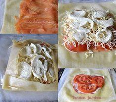 Préparation brick saumon fumé en tarte carrée - Recette de cuisine faites avec des feuilles de brick