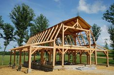 Timber Frame Barn - Bare Timber Frame - Timber Frame Construction - Homestead Timber Frames - Crossville Tennessee The b. Building A Pole Barn, Pole Barn House Plans, Pole Barn Homes, Barn Plans, Building A House, Pole Barn Designs, Gambrel Barn, Timber Structure, Barns Sheds