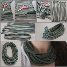 t-shirt turned infinity scarf tutorial.... I've seen some really cute ones around Sedalia that really make me want to make a couple different colors.
