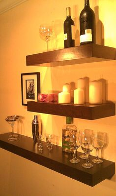 Home Decor Wall Mounted Wine Rack FREE SHIPPING Wine Bottle Holder Floating  Shelf Visit Our Store