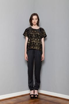 Wren | Resort 2015 | 05 Black/gold graphic print short sleeve top and black trousers