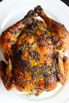 Pollo Asado (Roasted Chicken) by My Colombian Recipes My Colombian Recipes, Colombian Food, Roasted Chicken Legs, Baked Chicken, Stuffed Chicken, Creamy Chicken, Chicken Thighs, Healthy Chicken, Gourmet