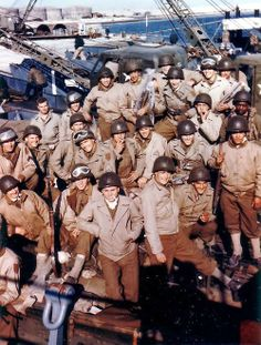 US soldiers of the 1st Infantry Division in England just prior to the Normandy Invasion - June 1944. -