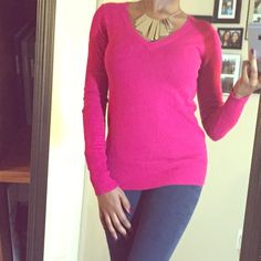 Pink Basic Sweater  This cute pink comfy, stretch sweater is in great condition. This is a v-neck and also very form fitting! Such a great every day sweater. Mossimo Supply Co Sweaters V-Necks