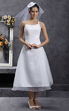 A line Halter Tea length Organza Wedding Dress with Beaded Appliques20 of the Most Vintage Tea length Wedding Dresses for Older Bride  . Tea Length Halter Wedding Dress. Home Design Ideas