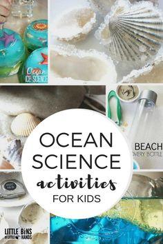 Ocean science activities for kindergarten and preschool ocean theme and beach learning. Make ocean slime, beach discovery bottles, sand slime, wave bottles, measure shells, grow crystal seashells, and more summer kids science ideas.