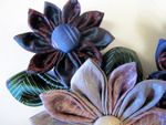 Kanzashi flowers made from men's silk ties