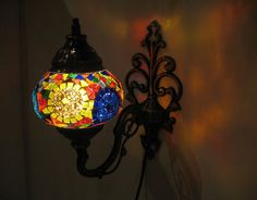 Colorful mosaic glass sconce lamp wall lamp lampe by meryemart Turkish Lights, Outdoor Lamps, Moroccan Lanterns, Livex Lighting, Wall Lights, Ceiling Lights, Mosaic Glass, Lamp Light, Wall Sconces