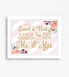 Wedding Sign - Blush Pink Gold Glitter Watercolor Flowers - Leave A Note And Your Wishes - Instant Download Printable