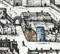 | Bear Inn |The House of the Abbots of Tavistock is shown in brown and the entrance to the Bear Inn yard is shown in blue. Tavistock, Exeter, Entrance, Yard, Brown, Blue, Entryway, Patio, Door Entry