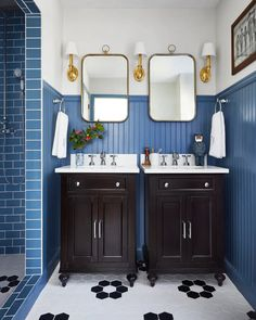 makeover takeover bathroom Bathroom Makeovers On A Budget, Budget Bathroom, Bathroom Ideas, Wall Design, House Design, Brass Cabinet Hardware, Colonial Style Homes, Painting Trim, Wood Vanity