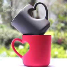 Heart Shape Handle Design Tea and Coffee Cup with Black and Red color on sale, Buy Retail Price Coffee Mugs at Beddinginn.com