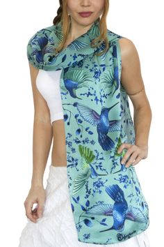 A dreamy design that is perfect for a lush, green summer! Hand painted and 100% silk.