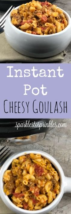 Delicious Cheesy Goulash that is every bit of comfort food with all of the ease of a one-pot instant pot meal. Pin for Later! #instantpot #onepot #easyrecipe