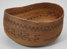 Central Californian oval basket, possibly Miwok, willow coiled on a three-rod willow foundation, design in redbud and bracken fern root, early 1900s. Subjects: three-rod foundation, zigzags