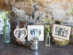 Team retro family pictures with floral displays for a pretty decorative touch at your #wedding reception. Image © Kelly Weech. #realweddings #Cotswolds #rusticweddings #weddingdecor