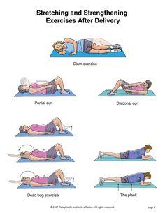 Lower Back Strengthening Exercises . Medical Group - Stretching and Strengthening Exercises After Delivery Postpartum Workout Plan, Postnatal Workout, Pregnancy Workout, Second Pregnancy, Postpartum Care, Postpartum Recovery, Post Pregnancy, Back Strengthening Exercises, Lower Back Exercises
